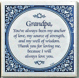 Inspirational Plaque: Grandpa Always Love.. - Below $10, Collectibles, CT-100, CT-101, General Gift, Grandpa, Home & Garden, Kitchen Decorations, SY: Grandpa Always Love, Tiles-Sayings, Under $10