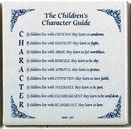 Inspirational Plaque: Children's Character Guide - Below $10, Collectibles, General Gift, Home & Garden, Kitchen Decorations, SY: Childrens Character Guide, Tiles-Sayings, Under $10
