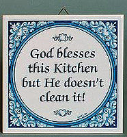 Inspirational Plaque: God Blesses Kitchen.. - Below $10, Collectibles, General Gift, Kitchen Decorations, SY: God Blesses Kitchen, Tiles-Sayings, Under $10 - 2