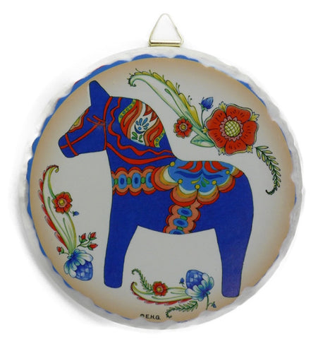 Round Ceramic Plaque Blue Dala Horse