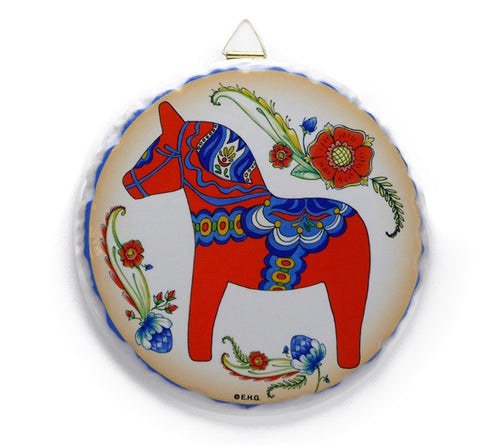 Red Dala Horse Round Ceramic Plaqu