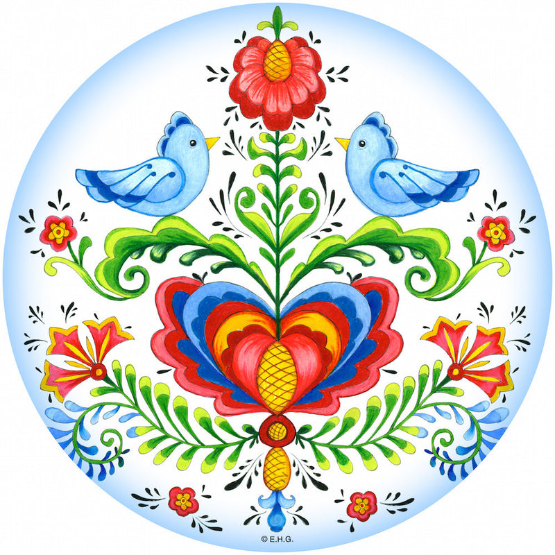Round Ceramic Plaque Lovebirds - Below $10, Collectibles, Home & Garden, Kitchen Decorations, Rosemaling, Round Plaque, Scandinavian, swedish, Tiles-Shields-Swedish, Top-SWED-B, Under $10 - 2