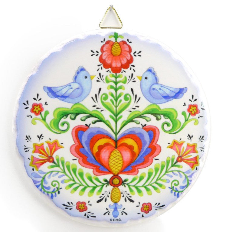 Round Ceramic Plaque Lovebirds - Below $10, Collectibles, Home & Garden, Kitchen Decorations, Rosemaling, Round Plaque, Scandinavian, swedish, Tiles-Shields-Swedish, Top-SWED-B, Under $10