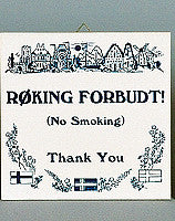 Inspirational Wall Plaque Roking Forbudt - Collectibles, CT-205, Danish, German, Germany, Home & Garden, Kitchen Decorations, SY: Roking Forbudt, Tiles-German