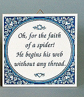 Inspirational Wall Plaque Faith Of Spider - Below $10, Collectibles, General Gift, Home & Garden, Kitchen Decorations, Tiles-Sayings, Under $10