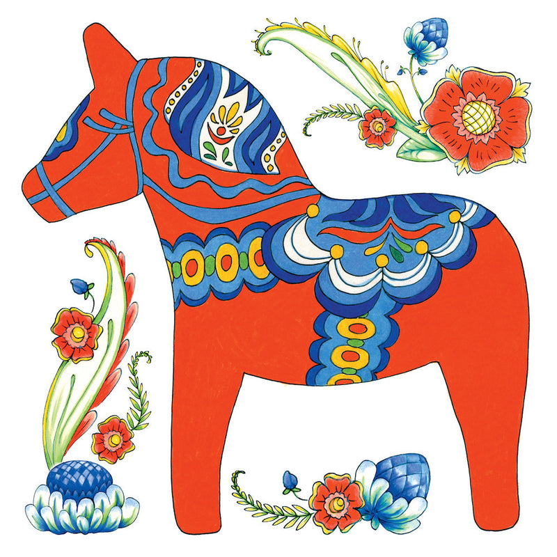 Red Dala Horse Ceramic Deluxe Plaque - Below $10, Blue, Collectibles, CT-150, Dala Horse, Dala Horse Red, Decorations, Home & Garden, Kitchen Decorations, PS-Party Favors Dala, PS-Party Favors Swedish, Red, swedish, Tiles-Swedish
