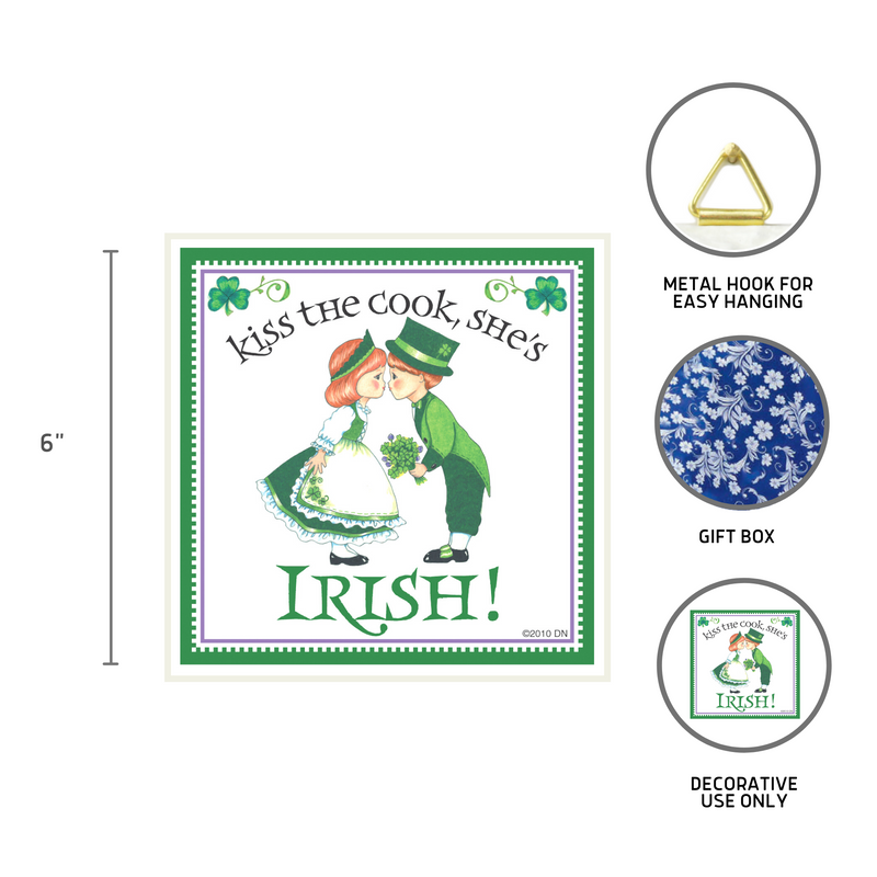 """Kiss Irish Cook"" Irish Gift Tile"