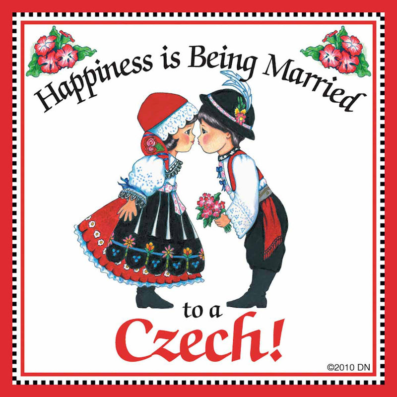 "Czech Gift Tile: ""Married to Czech"""