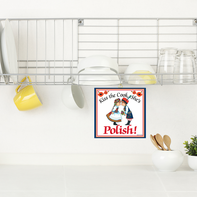 "Polish Gift Tile: ""Kiss Polish Cook"""