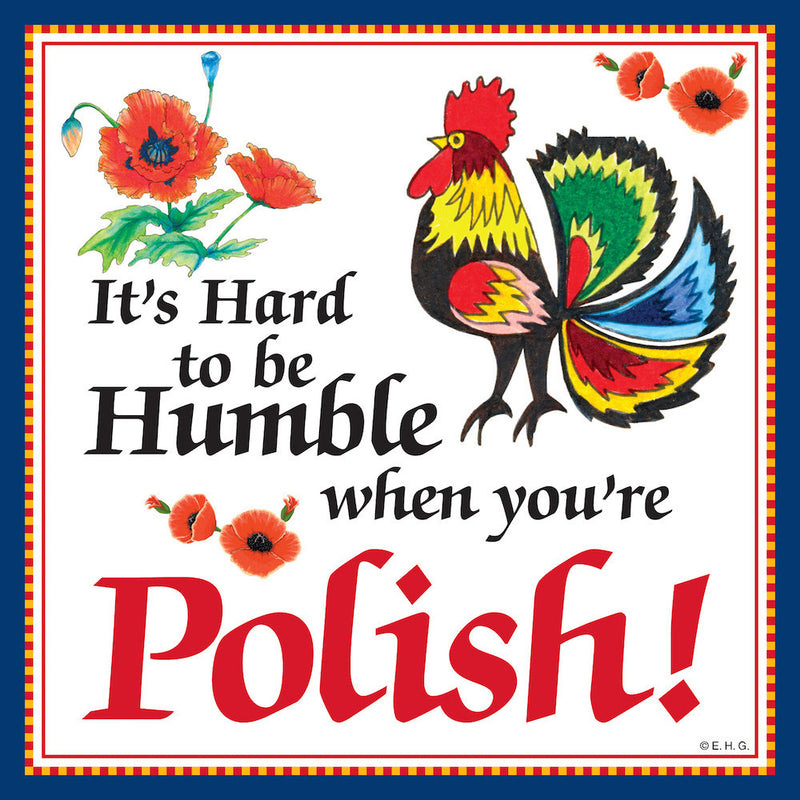 Ceramic Wall Plaque Humble Polish - Below $10, Collectibles, CT-245, Home & Garden, Kitchen Decorations, Polish, SY: Humble Being Polish, Tiles-Polish
