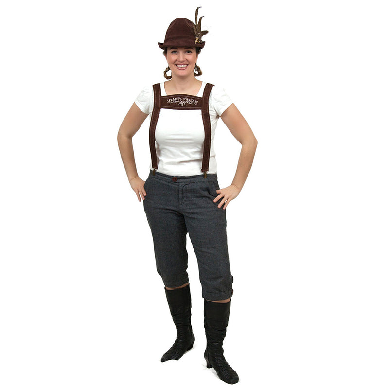 Oktoberfest Costume Faux Leather Lederhosen Suspenders -3