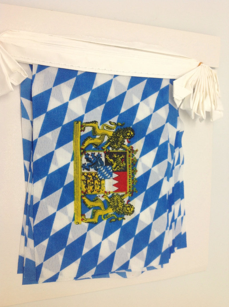 16 Foot Bavarian Polyester Flag Oktoberfest Pennant Banner (6x9 inches Pennant) - Hanging Decorations, PS- Oktoberfest Decorations, PS- Oktoberfest Essentials-All OKT Items, PS- Oktoberfest Hanging Decor, PS- Oktoberfest Table Decor, Tableware - 2