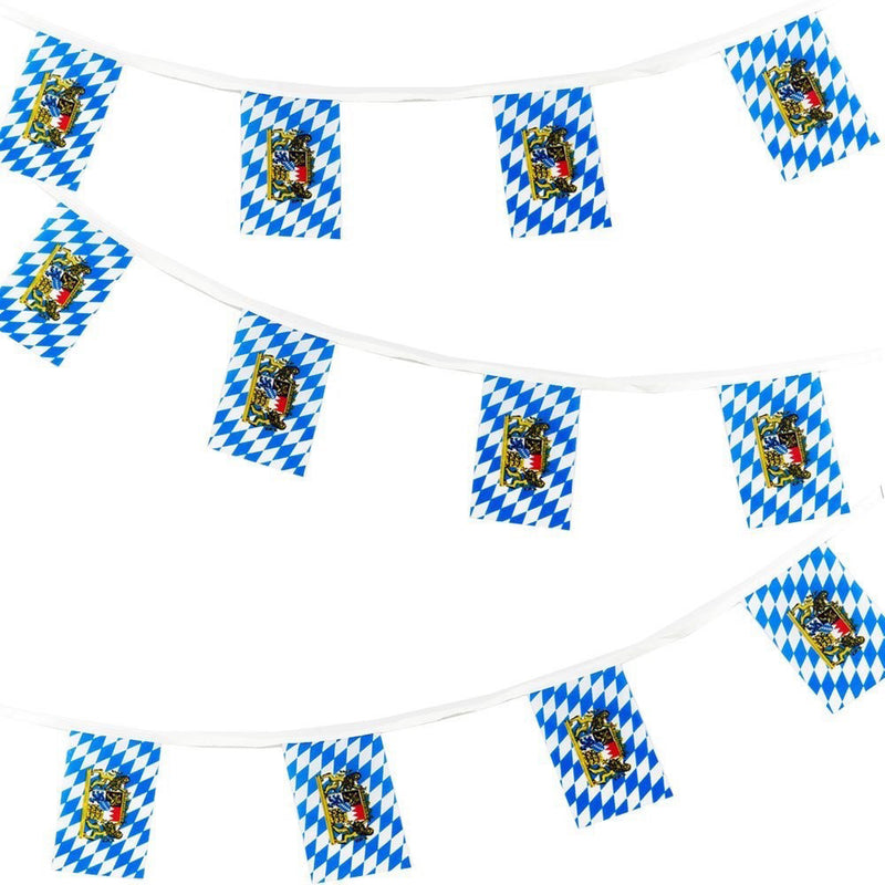 16 Foot Bavarian Polyester Flag Oktoberfest Pennant Banner (6x9 inches Pennant) - Hanging Decorations, PS- Oktoberfest Decorations, PS- Oktoberfest Essentials-All OKT Items, PS- Oktoberfest Hanging Decor, PS- Oktoberfest Table Decor, Tableware - 2 - 3 - 4