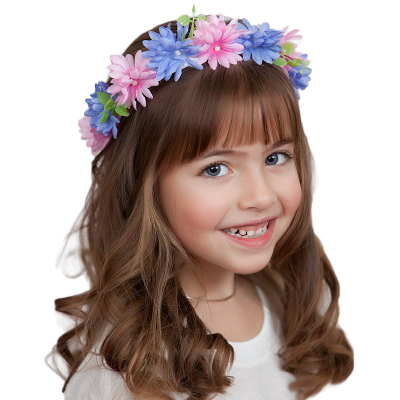 Bachelor Button Flower Oktoberfest Garland - Adult, Apparel-Costumes, Below $10, Decorations, Garlands, German, Germany, Hats, Hats-Hair Accessories, Hats-Headband, Hats-Kids, Home & Garden, Size, Small/Youth, Top-GRMN-B, Youth