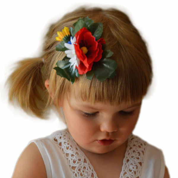Oktoberfest Harvest Flowers Hair Clip - Apparel-Costumes, Below $10, Edelweiss, Garlands, German, Germany, Hats, Hats-Hair Accessories, Hats-Hair Clip, Hats-Kids, Hats-Party, Home & Garden, Top-GRMN-B - 2 - 3 - 4