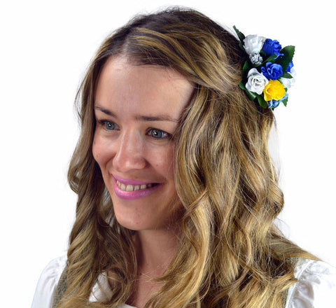 Floral Oktoberfest Hair Clip Fastener Blue and White