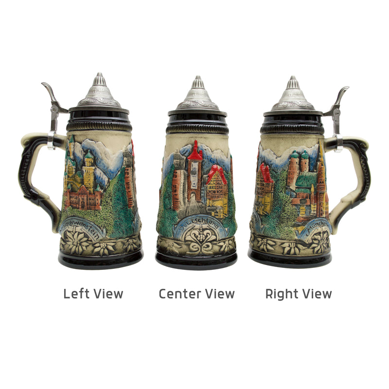 Classic scenes of Deutschland from mountain castles to famous landmarks featured on this ceramic beer stein. This beer stein will make for a great classic gift or addition to your collection!