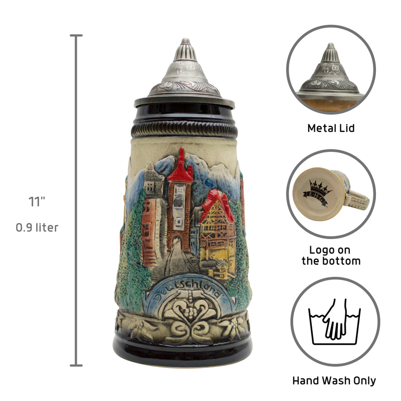 Classic scenes of Deutschland from mountain castles to famous landmarks featured on this ceramic beer stein with an ornate metal lid. This beer stein will make for a great classic gift or addition to your collection