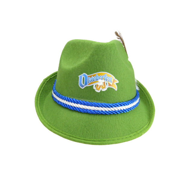Oktoberfest Logo German Felt Mint Green Costume Fedora Hat