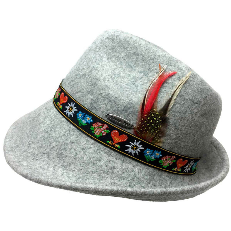 Tyrolean Alps Gray 100% Wool Hat with Embroidered Band