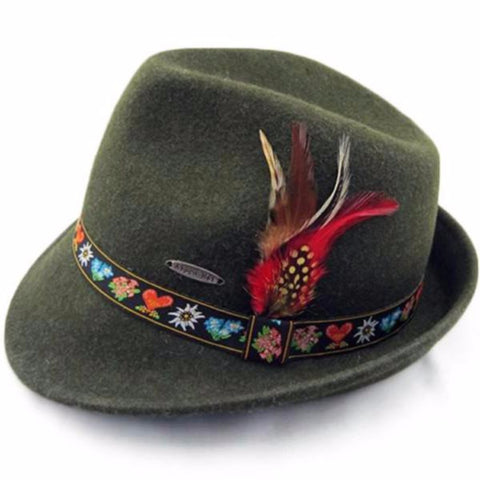 Tyrolean Alps Green 100% Wool Hat with Embroidered Band