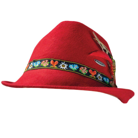 Tyrolean Alps Red 100% Wool Hat with Embroidered Band