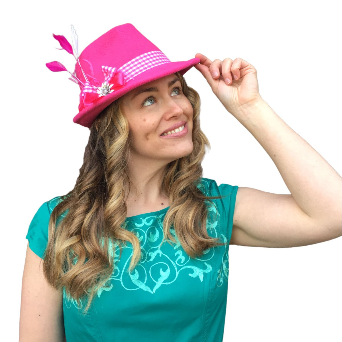 2f83832de14ae ... Pink Ladies Hat with Edelweiss Pin and Feathers ...