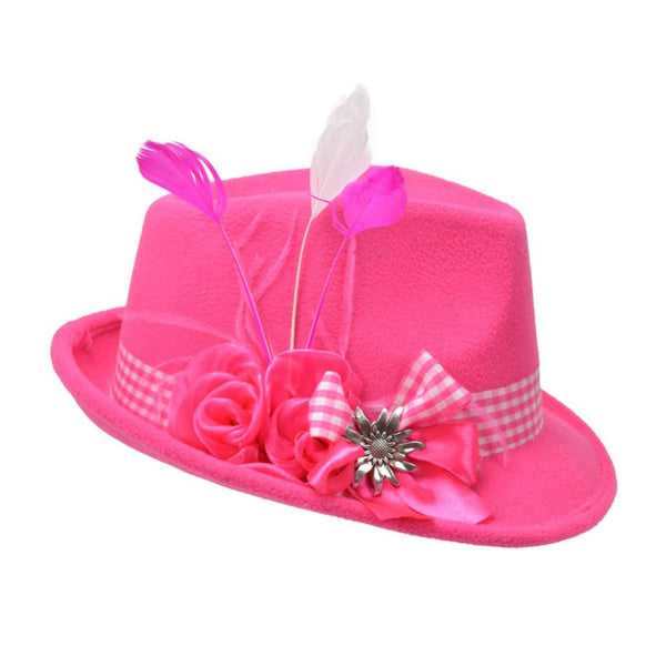 Pink Ladies Hat with Edelweiss Pin and Feathers