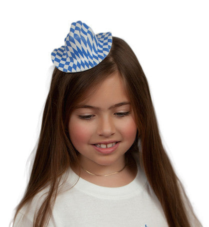 Bavarian Oktoberfest Mini Hat - Apparel-Costumes, Apparel-Dogs, Bavarian Blue White Checkers, Bayern, Felt, German, Germany, Hats, Hats-Hair Accessories, Hats-Hair Clip, Hats-Kids, Hats-Mini, Hats-Party, Miniatures, Oktoberfest, Top-GRMN-B - 2