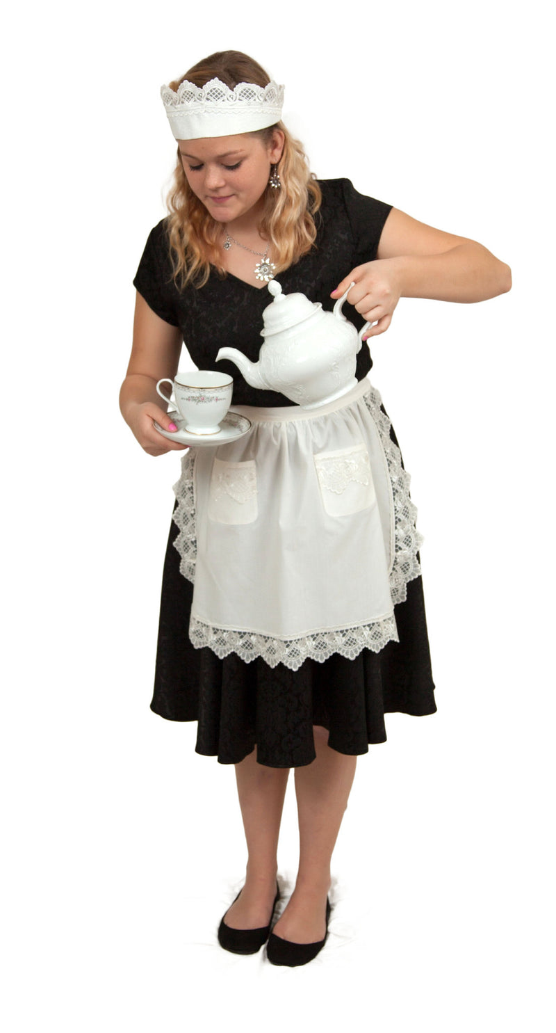 White Lace  inchesMaid Costume inches Apron Set - Apparel- Aprons, Apparel-Kitchenware, CT-700, Hats, Lace