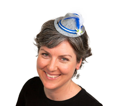 Mini Oktoberfest Party Hat w/ Blue Trim