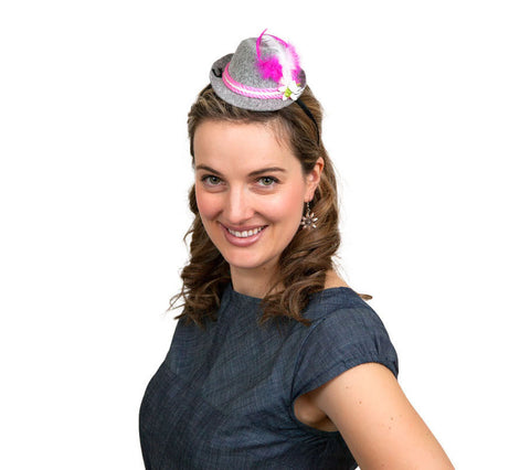 Mini Oktoberfest Party Hat w/ Pink Trim