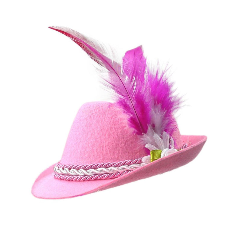 Oktoberfest Costume Mini Pink Hat - Apparel-Costumes, German, Hats, Hats-Hair Accessories, Hats-Hair Clip, Hats-Mini, Hats-Party, New Products, NP Upload, PS-Party Supplies, Under $10, Yr-2017