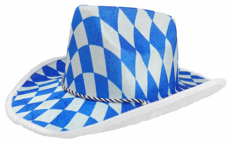 Bavarian Cowboy Oktoberfest Hat - Apparel-Costumes, Bavarian Blue White Checkers, Bayern, Felt, German, Germany, Hats, Hats-Kids, Hats-Party, Oktoberfest