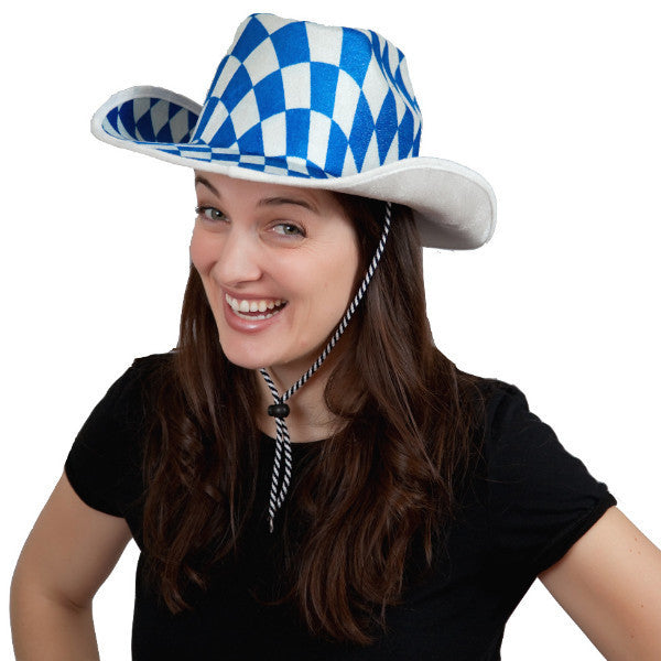 Bavarian Cowboy Oktoberfest Hat - Apparel-Costumes, Bavarian Blue White Checkers, Bayern, Felt, German, Germany, Hats, Hats-Kids, Hats-Party, Oktoberfest - 2