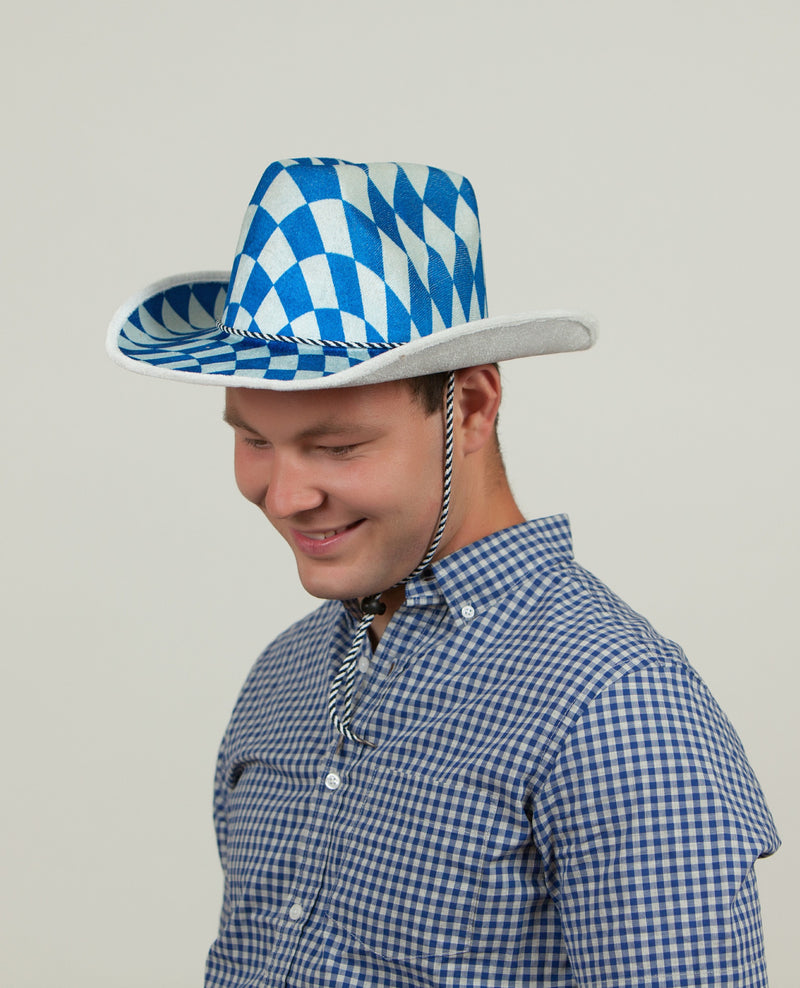 Bavarian Cowboy Oktoberfest Hat - Apparel-Costumes, Bavarian Blue White Checkers, Bayern, Felt, German, Germany, Hats, Hats-Kids, Hats-Party, Oktoberfest - 2 - 3 - 4 - 5 - 6 - 7 - 8