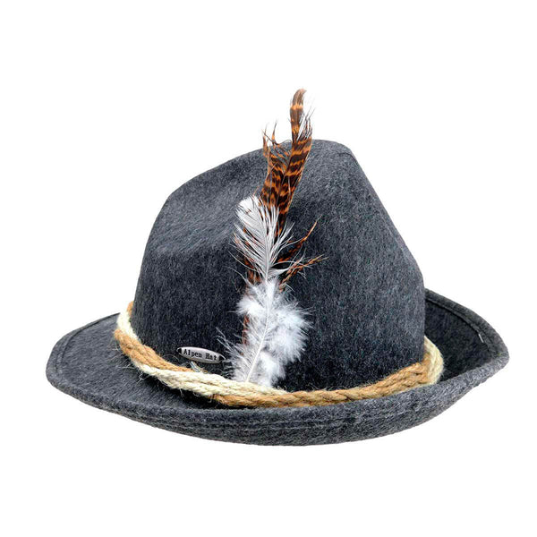 Gray Felt Fedora Hat with Brown Rope