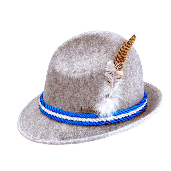 Oktoberfest Felt Fedora Alpine Gray Hat With Rope