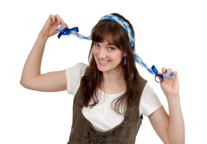 Oktoberfest Costume Functioning Blinking Lights Braids Blue - Apparel-Costumes, Blue, Felt, German, Germany, Hats, Hats- Braids, Hats-Headband, Hats-Kids, Hats-Party, PS-Party Supplies, Red, Top-GRMN-B, YELLOW