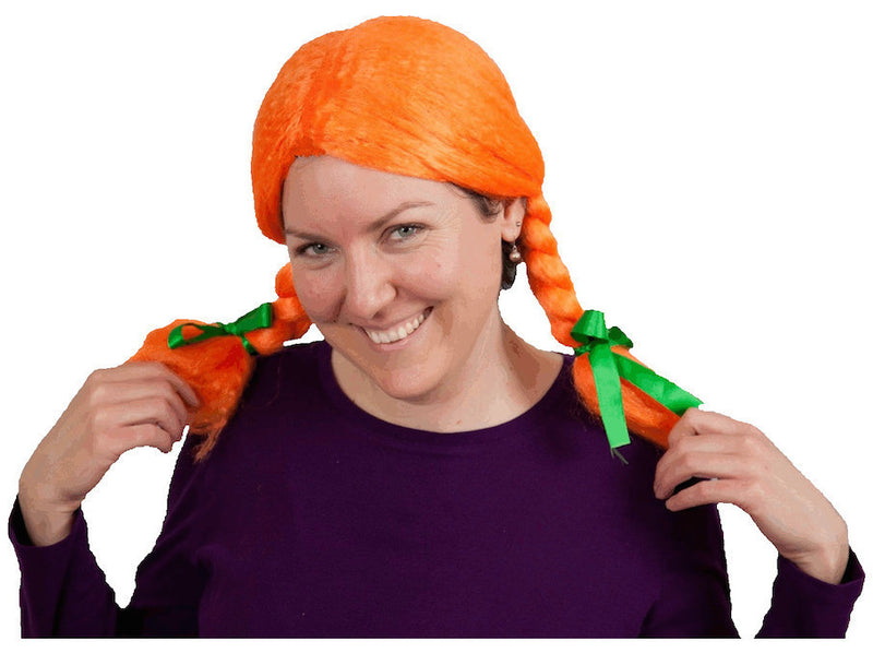 Orange Costume Wig - Apparel-Costumes, Felt, German, Germany, Hats, Hats- Braids, Hats-Kids, Hats-Party, Hats-Wigs