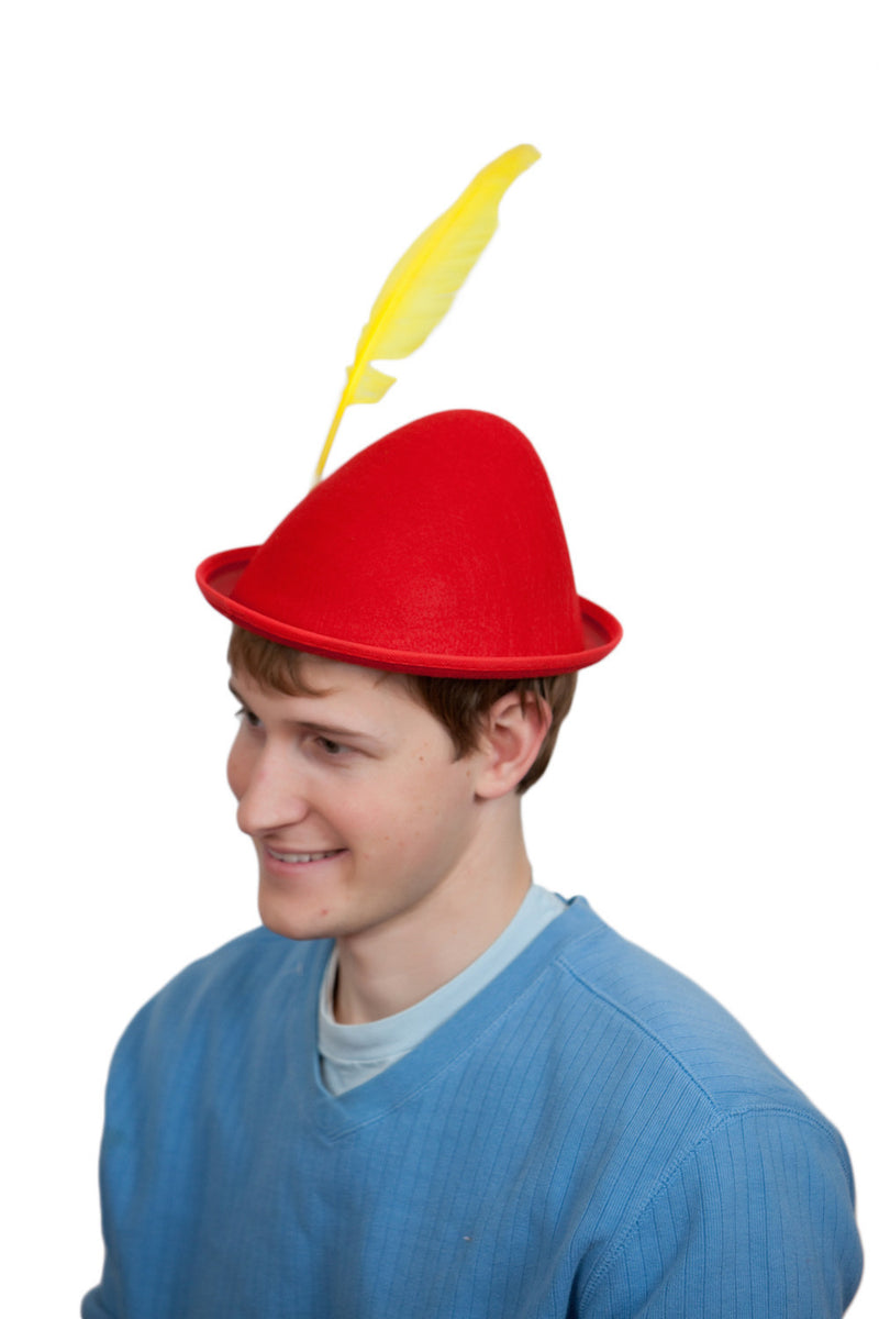 Oktoberfest  inchesPeter Pan inches Party Hat Red with Yellow Feather - Apparel-Costumes, felt, German, Germany, Hats, Hats-Kids, Hats-Party, L, Medium, Oktoberfest, Size, Top-GRMN-B - 2 - 3 - 4