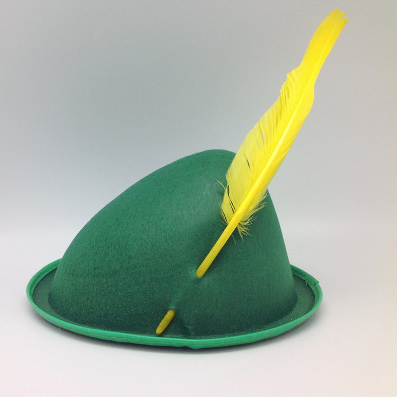 Oktoberfest  inchesPeter Pan inches Party Hat Green with Yellow Feather - Apparel-Costumes, felt, German, Germany, Hats, Hats-Kids, Hats-Party, L, Medium, Oktoberfest, Size, Small, Top-GRMN-B - 2 - 3