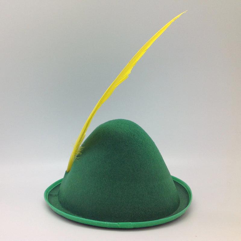 Oktoberfest  inchesPeter Pan inches Party Hat Green with Yellow Feather - Apparel-Costumes, felt, German, Germany, Hats, Hats-Kids, Hats-Party, L, Medium, Oktoberfest, Size, Small, Top-GRMN-B - 2 - 3 - 4