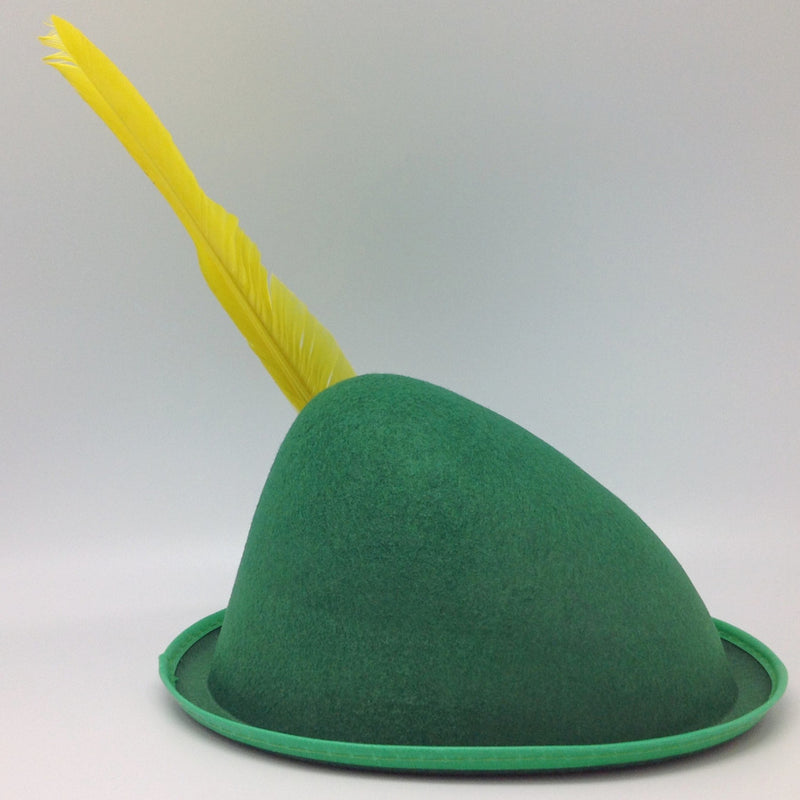 Oktoberfest  inchesPeter Pan inches Party Hat Green with Yellow Feather - Apparel-Costumes, felt, German, Germany, Hats, Hats-Kids, Hats-Party, L, Medium, Oktoberfest, Size, Small, Top-GRMN-B - 2 - 3 - 4 - 5