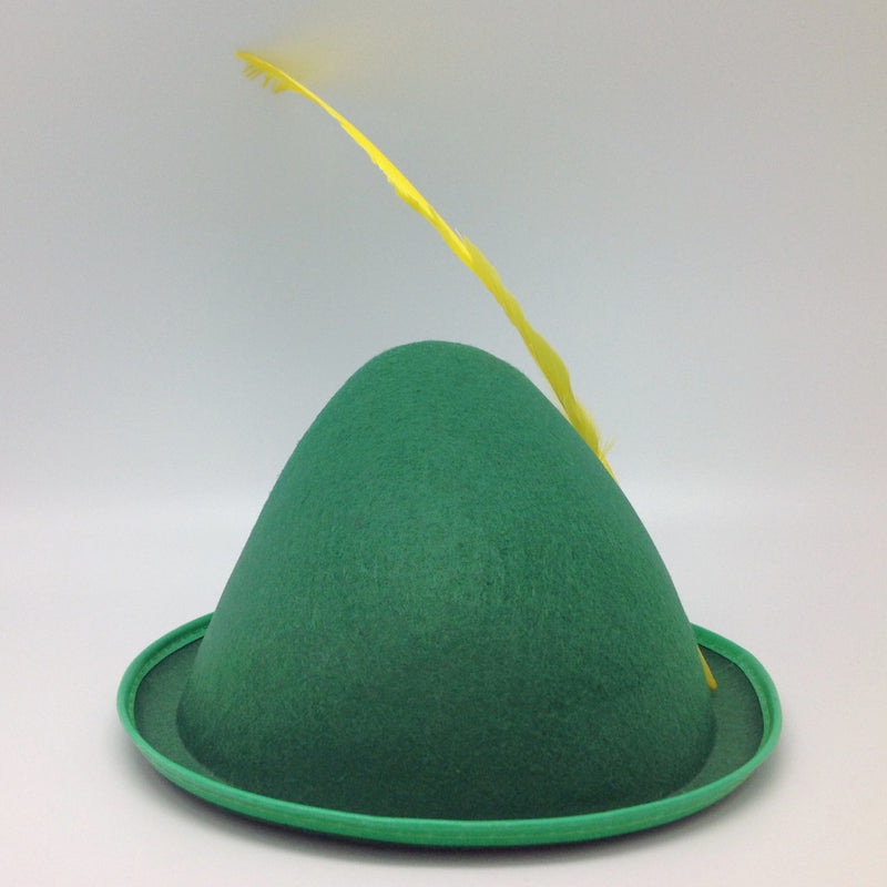 Oktoberfest  inchesPeter Pan inches Party Hat Green with Yellow Feather - Apparel-Costumes, felt, German, Germany, Hats, Hats-Kids, Hats-Party, L, Medium, Oktoberfest, Size, Small, Top-GRMN-B - 2 - 3 - 4 - 5 - 6