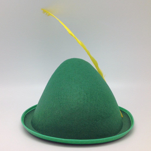 Oktoberfest  inchesPeter Pan inches Party Hat Green with Yellow Feather - Apparel-Costumes, felt, German, Germany, Hats, Hats-Kids, Hats-Party, L, Medium, Oktoberfest, Size, Small, Top-GRMN-B - 2