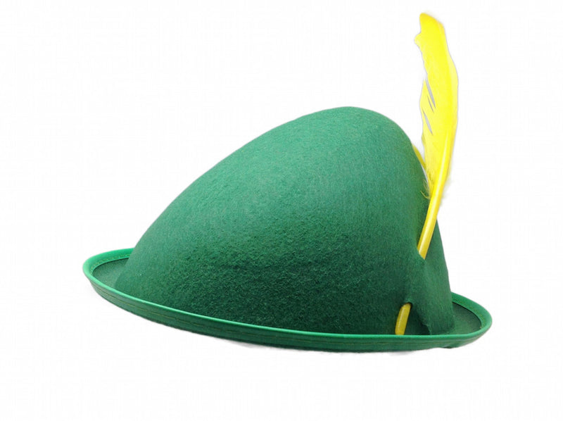 Oktoberfest  inchesPeter Pan inches Party Hat Green with Yellow Feather - Apparel-Costumes, felt, German, Germany, Hats, Hats-Kids, Hats-Party, L, Medium, Oktoberfest, Size, Small, Top-GRMN-B