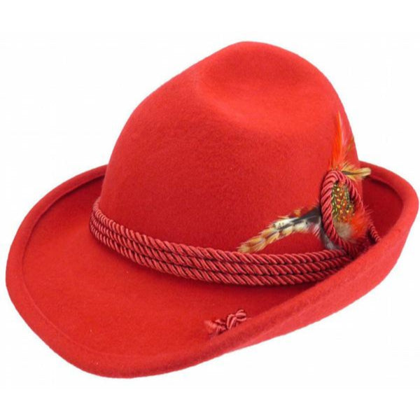 German Bavarian Style 100% Wool Red Hat