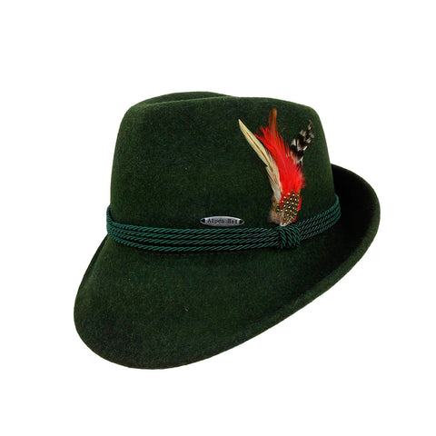 German Alpine Style Green 100% Wool Oktoberfest Hat