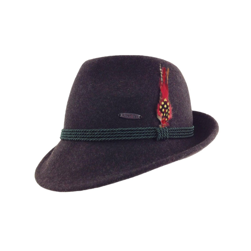 German Alpine Style Brown 100% Wool Oktoberfest Hat